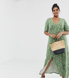 Чайное платье макси на пуговицах с разрезами и цветочным принтом ASOS DESIGN Curve - Зеленый