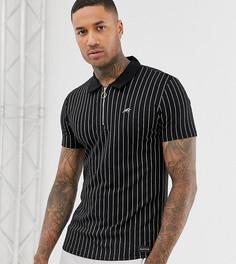 Обтягивающая футболка-поло в полоску с короткой молнией Mauvais - Черный