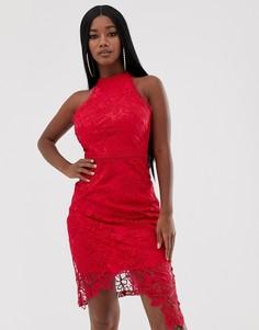 Кружевное платье миди с запахом Lipsy - Розовый