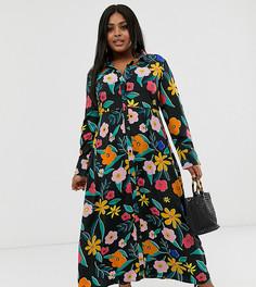 Платье-рубашка макси с цветочным принтом Neon Rose Plus - Мульти