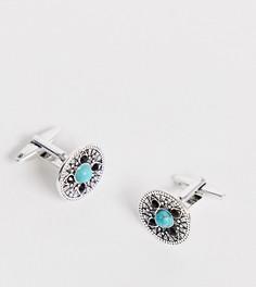 Запонки с синими камнями DesignB - Серебряный