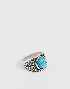 Серебристое кольцо с бирюзой DesignB - Серебряный