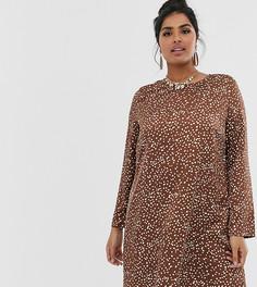 Свободное платье в горошек с длинными рукавами Glamorous Curve - Коричневый