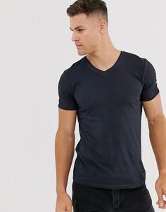 Темно-синяя футболка с V-образным вырезом BOSS - Черный