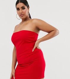 Красное платье-бандо мини для вечеринок Fashionkilla Plus - Красный