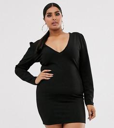 Черное платье мини с глубоким вырезом для вечеринок Fashionkilla Plus - Черный
