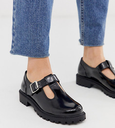 Черные туфли из искусственной кожи с пряжками Monki - Черный