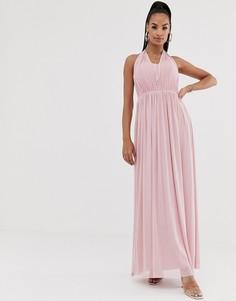 Шифоновое платье макси с халтером Lipsy - Розовый