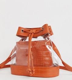 Эксклюзивная прозрачная сумка-мешок со вставками с эффектом крокодиловой кожи и шнурком My Accessories London - Мульти