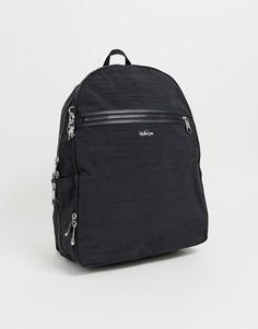 Черный рюкзак на молнии с серебристой подвеской в виде обезьянки Kipling - Черный