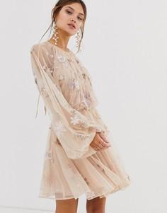 Сетчатое платье с цветочной отделкой и пышными рукавами ASOS EDITION - Розовый