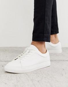 Классические кожаные кроссовки белого цвета Jack & Jones - Белый