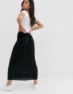 Черная юбка макси плиссе ASOS DESIGN - Черный