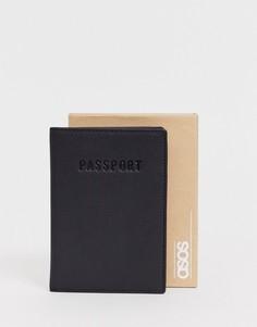Черная кожаная обложка для паспорта с тиснением в подарочной упаковке ASOS DESIGN - Черный