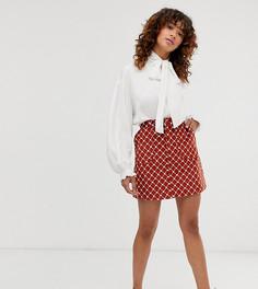 Вельветовая юбка-трапеция мини рыжего цвета с принтом цепочек и сердец Monki - Коричневый