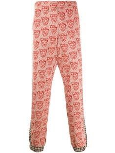 Gucci жаккардовые брюки со вставками