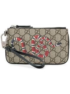 Gucci визитница с узором GG Supreme и принтом змеи