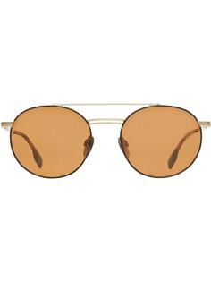 Burberry солнцезащитные очки в круглой оправе с верхней планкой