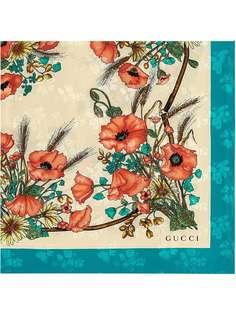 Gucci шейный платок с принтом маков