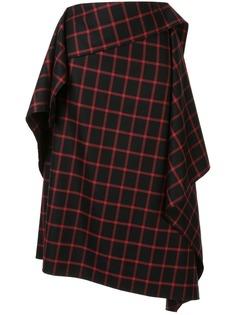 Maison Mihara Yasuhiro юбка асимметричного кроя в клетку
