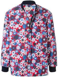 Marni куртка-бомбер с цветочным принтом