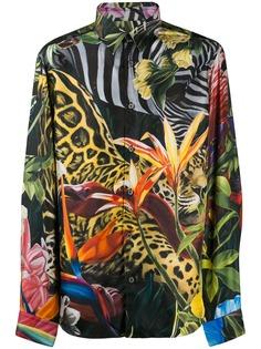 Roberto Cavalli атласная рубашка с принтом
