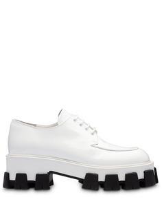 Prada туфли дерби с контрастной подошвой