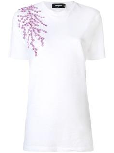 Dsquared2 футболка с цветочной аппликацией