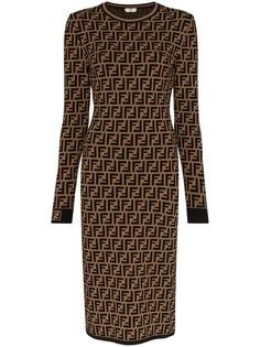 Fendi платье миди с логотипом