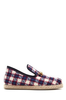 Текстильные клетчатые лоферы Horsebit Gucci