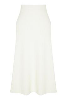 Белая трикотажная юбка миди Maje