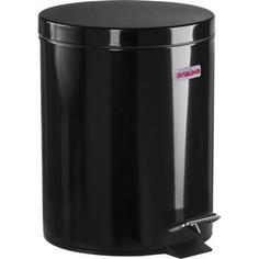 Ведро-контейнер для мусора (урна) с педалью Лайма Classic черное, глянцевое, металл, со съемным внутренним ведром, 5 л 604943