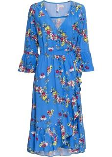 Платье с эффектом запаха и цветочным принтом Bonprix