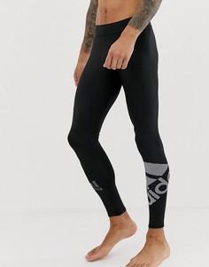 Черные леггинсы с логотипом adidas - Черный