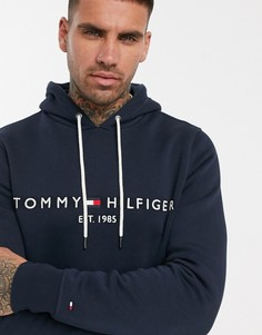 Темно-синий худи с вышитым логотипом-флагом Tommy Hilfiger - Темно-синий