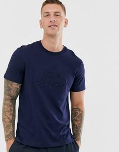 Темно-синяя футболка с логотипом и надписью Lacoste - Темно-синий