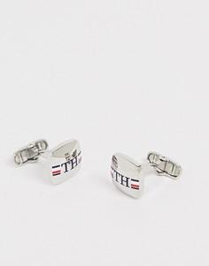 Серебристые запонки с логотипом Tommy Hilfiger - Серебряный