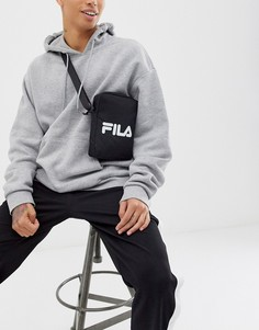 Черная сумка через плечо с большим логотипом Fila Prezza - Черный