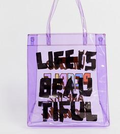 Прозрачная сумка-тоут унисекс с принтом LIFE IS BEAUTIFUL - Фиолетовый