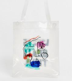 Миниатюрная прозрачная сумка-тоут унисекс с принтом LIFE IS BEAUTIFUL - Белый