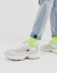 Замшевые кроссовки кремового цвета Skechers DLites Free Energy