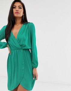 Платье с запахом и длинными рукавами Love - Зеленый