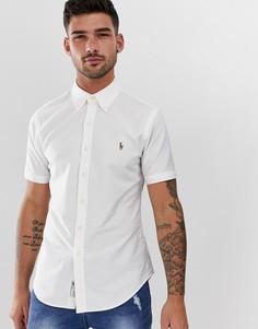Белая оксфордская приталенная рубашка с короткими рукавами и логотипом Polo Ralph Lauren - Белый