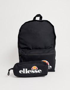 Черный рюкзак с логотипом и пенал ellesse Rolby - Черный