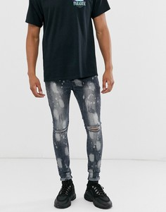 Серые джинсы скинни с рваной отделкой Sixth June - Серый
