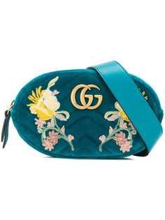 Gucci бархатная поясная сумка