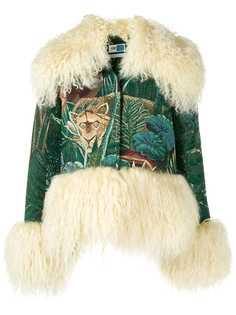 Kenzo куртка с вышивкой и меховой оторочкой