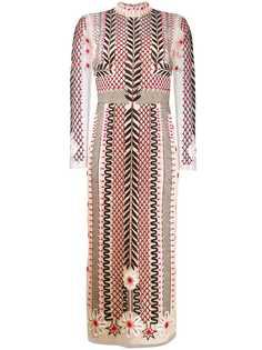Temperley London платье с длинными рукавами и вышивкой