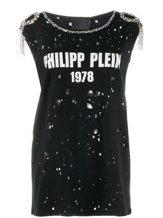 Philipp Plein декорированная футболка с эффектом потертости