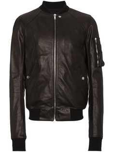Rick Owens кожаная куртка-бомбер с рукавами-реглан